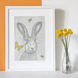 Hare with Bees & Butterflies Mounted print, 32.5 x 43cm, white frame