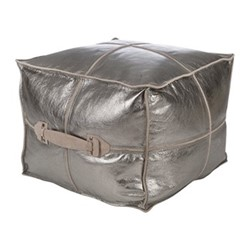 Metallic Leather Pouf, H45 x W45 x D45cm, silver