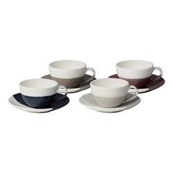 Coffee Studio Set of 4 flat white cups and saucers, 16.5cl, mixed