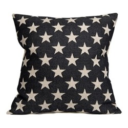 Antares Star Cushion, 60cm, linen/black