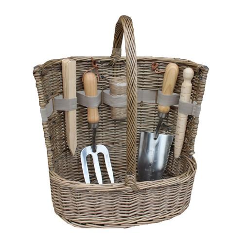 Deluxe Garden tool trug (includes garden tools), L36 x W23 x H35cm, antique wash
