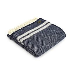 Fishbone Knee rug, 70 x 183cm, 2 stripe navy/grey