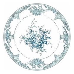 Les Dépareillées Bleu Fleurs Coaster, Dia13cm, white/blue
