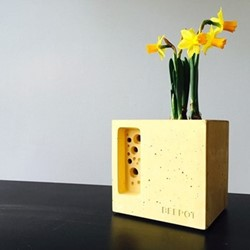 Mini Beepot Concrete planter and bee house, 10.5 x 10.5 x 10.5cm, yellow