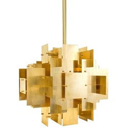 Puzzle Chandelier, W57 x D43.2 x H50.2cm, brass/antiqued metal