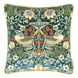 Strawberry Thief Velvet Cushion, W43 x L43cm, blue