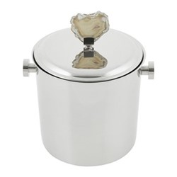 Natural Agate Ice bucket, H20.5 x W15.5 x L15.5cm, stainless steel and agate