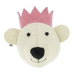 Mini wall mounted bear head, H15 x W20 x D18cm, white