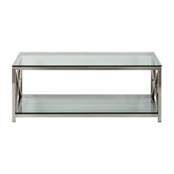 Manhattan Coffee table, L120 x D70 x H45cm, stainless steel/clear glass