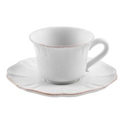 Impressions Set of 6 teacups and saucers, 22cl, white
