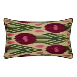 Ikat Cushion, 60 x 40cm, Green/Burgundy