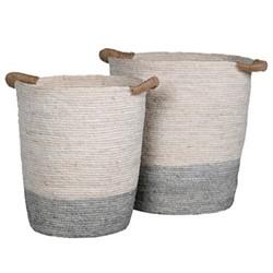 Set of 2 baskets, H47 x Dia41cm, white/blue
