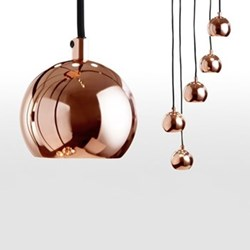 Austin Cluster pendant light, H220 x W26cm, copper