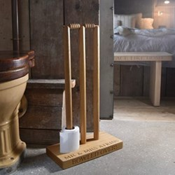Cricket Wicket Personalised loo roll holder, 70 x 40 x 20cm, oak