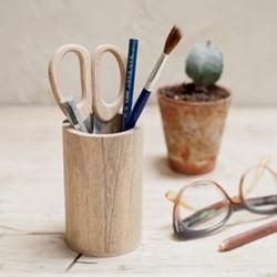 Hansa Wooden pen pot, D11 x 7cm, mango wood