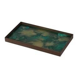 Malachite Organic glass tray - medium, 31 x 17 x 3cm, green