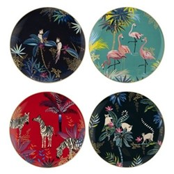 Tahiti Set of 4 melamine side plates, 20cm, multi