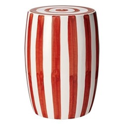 Rander Ceramic stool, D32 x H46cm, red/white