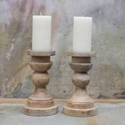 Kibibi Candlestick, 23 x 13cm, mango wood