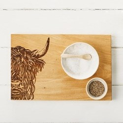 Highland Cow Serving board, 30 x 20 x 2.5cm, engraved illustration