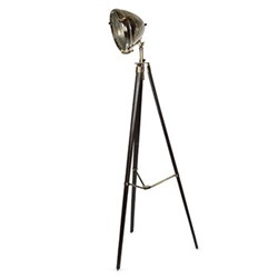 Bentley Tripod floor lamp, H198 x W53, silver/wood