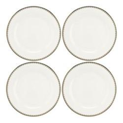 Blue Lily Set of 4 dinner plates, Dia27cm, 22 carat gold / blue