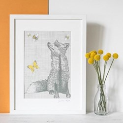 Fox With Bees & Butterflies Mounted print, 32.5 x 43cm, white frame