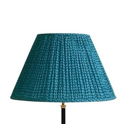 Empire Block printed lampshade, 50cm, blue cotton
