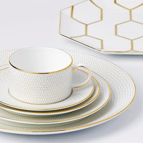 Arris Teacup and saucer, white with gold band