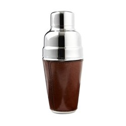 Cocktail shaker, H23 x D9.5cm, tan leather