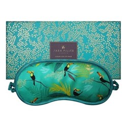 Toucan Silk eye mask, 21 x 9.5cm, green