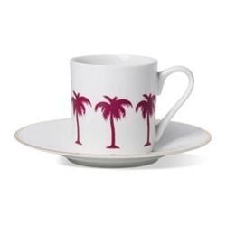 Palm Tree Espresso cup and saucer, gold rim