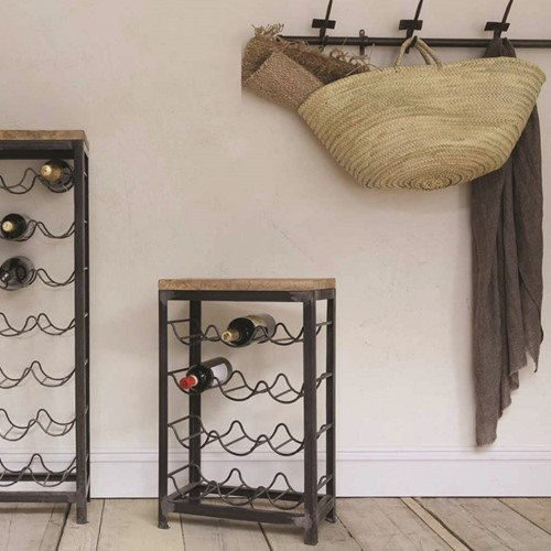 Obra Small industrial wine rack, 65 x 41 x 25cm, mango wood & iron