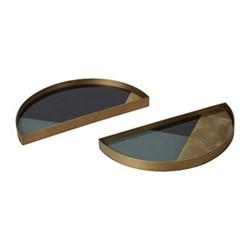 Geometric Set of 2 mini half moon glass trays, H3 x W15 x D30cm, black