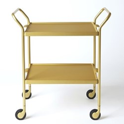 Serving trolley with 2 serving trays, L53.5 x W35.5 x H65cm, brushed gold