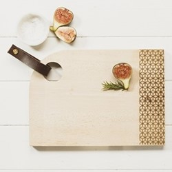 Geo Print Medium curved sycamore serving board with leather tab, L35 x W25 x H2cm, sycamore