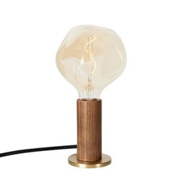 Knuckle Pendant Table lamp with voronoi bulb, H30 x D13cm, Walnut & Brass