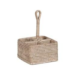 Ashcroft Condiment & cutlery basket, L20 x W20 x H30cm, rattan