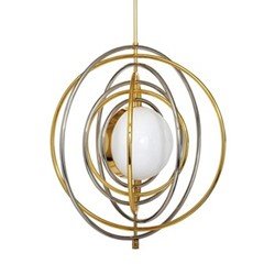 Electrum Kinetic chandelier, Dia71.12cm, polished brass & nickel