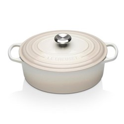 Signature Cast Iron Oval casserole, 29cm - 4.7 litre, meringue