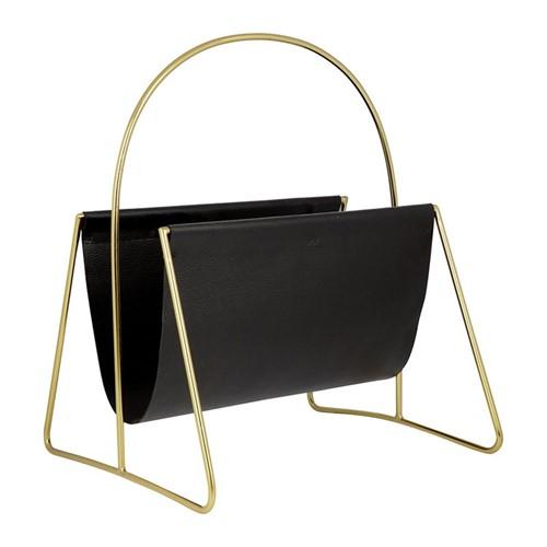 Leather magazine basket, H45.5 x W43 x D12.5cm, gold/black
