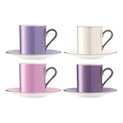 Polka Set of 4 coffee cups and saucers, 100ml, assorted pastels