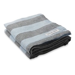 Stripe Linen beach towel, baby blue and grey