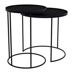 Set of 2 round nesting tray tables, black