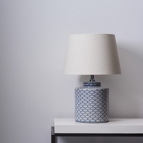 Serpentine Table lamp with shade, H51.5 x Dia36cm, white/blue
