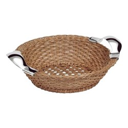 Bread basket, W27cm, light brown and sterling silver