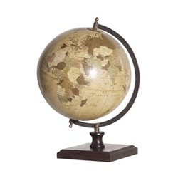 World globe on wooden base., natural/brown