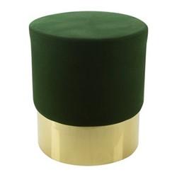 Round velvet stool, H47 x D43cm, green/gold