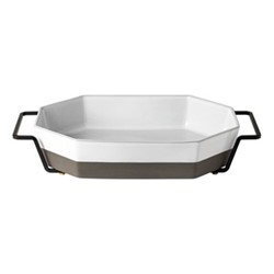 Plano Octagonal baking dish with holder, H7 x W42.5 x D7cm, white