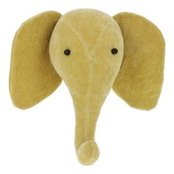 Mini wall mounted elephant head, H27 x W30 x D21cm, yellow